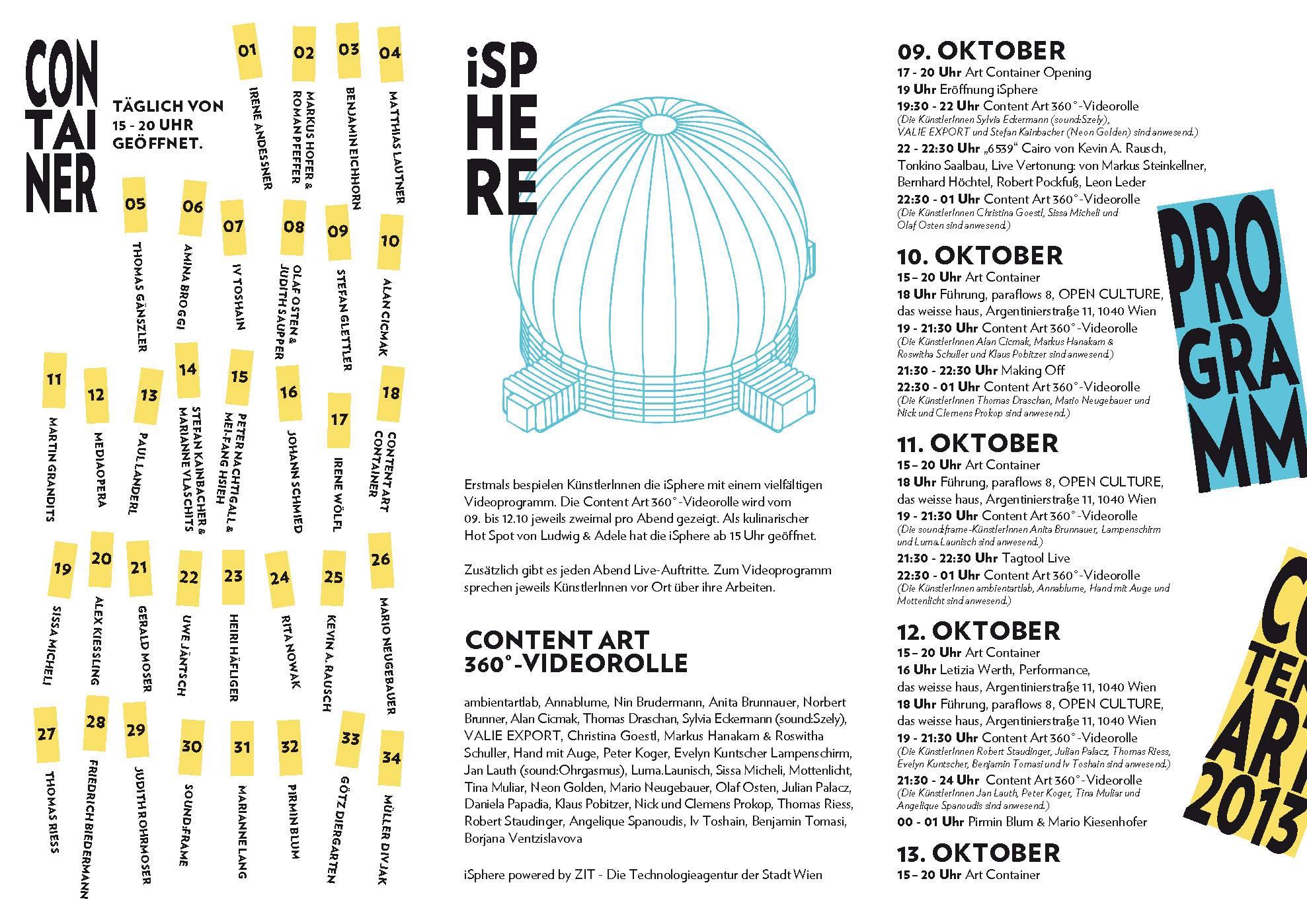 Programm Content Art 2013 Karlsplatz iSphere